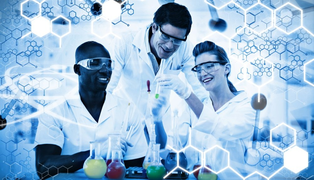 Science graphic against happy scientist examining test tube on digitally generated background-1