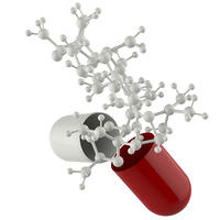 capsule shows 3d molecule as medical concept