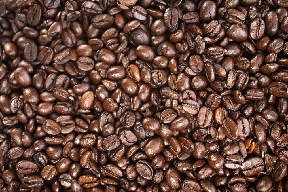 Fresh coffee beans before being ground